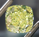 2.00ct Greenish Yellow SI1 Cushion Cut Diamond R8806