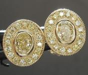 0.66ctw Yellow Oval Shape Diamond Earrings R8786