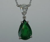 SOLD...1.84ct Pear Shape Emerald Necklace R8701