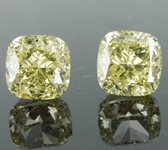 2.04ctw Yellow VS1 Cushion Cut Diamond Earrings R8893