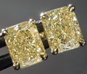 SOLD...2.11ctw Yellow Radiant Cut Diamond Earrings R8862