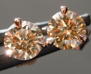 1.33ctw Brown SI Round Brilliant Diamond Earrings R8859