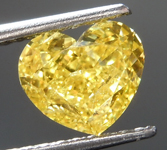 1.00ct Vivid Yellow I1 Heart Shape Diamond R8936
