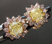 SOLD.....1.01cts Yellow VS Cushion Cut Diamond Earrings R8879
