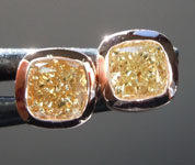 SOLD....0.81ctw Yellow Cushion Cut Diamond Earrings R8909
