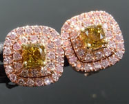 0.46cts Greenish Yellow VS Cushion Cut Diamond Earrings R8948