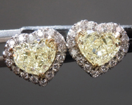 SOLD....1.12cts Light Yellow VS Heart Shape Diamond Earrings R8849