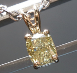 SOLD....0.57ct Light Yellow VS1 Cushion Cut Diamond Pendant R9038