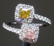 0.47cts Fancy Colored Cushion Cut Diamond Ring R9040