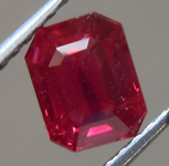 1.05ct Vivid Red Emerald Cut Burma Ruby R9125