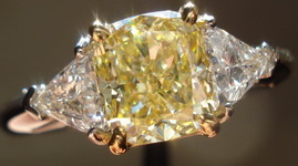 SOLD....Three Stone Ring- GIA 1.38ct Cushion Cut Fancy Light Yellow Diamond Ring w/Trilliants R1421