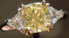SOLD....Three Stone Ring- GIA 1.38ct Cushion Cut Fancy Light Yellow Diamond Ring w/Trilliants R1421