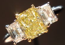 SOLD....Three Stone Diamond Ring: 1.18ct Radiant Cut Fancy Lt Yellow Sam Spade emerald cut side R1419