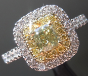0.52ct Greenish Yellow SI2 Cushion Cut Diamond R9171