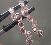 0.97ctw Pink Cushion Cut Diamond Earrings R9230