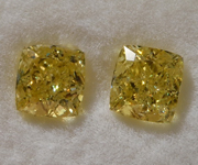 1.76ct Intense Yellow SI2 Cushion Cut Diamond Earrings R9327