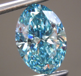 3.51ct Greenish Blue SI1 Oval Shape Lab Grown Diamond R9386