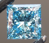 1.08ct Intense Blue Princess Cut Lab Grown Diamond R9412