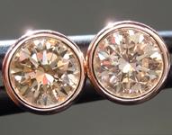 1.01ctw Orangy Brown VS1 Round Brilliant Diamond Earrings R9382