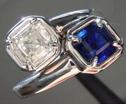 1.88ctw Asscher Cut Diamond and Sapphire Ring R9448