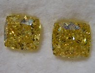 2.09ctw Intense Yellow Cushion Cut Diamond Earrings R9581