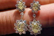 SOLD....Earrings- GIA 6.76tw Yellow Oval Diamond Dangles in Platinum R1337