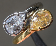1.60ctw Yellow and Colorless Pear Shape Diamond Ring R9555