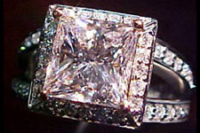 SOLD.....Halo RING: GIA 2.25ct Faint Pink/SI2 Princess Cut Diamond Microset Halo Ring R1480