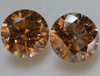 4.04ct Brown VS Round Brilliant Diamond Earrings R9739