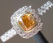 SOLD...0.25ct Orange VS1 Cushion Cut Diamond Ring R9705