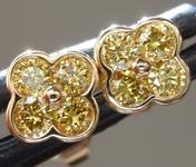0.28ctw Vivid Yellow VS1 Round Brilliant Diamond Earrings R9274