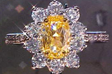 SOLD....Ring- GIA .58ct Fancy Intense Yellow-Orange Oval Shaped Diamond Micro Set Ring R1485