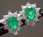 0.58cts Green Pear Shape Emerald Earrings R9613
