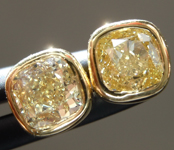 0.80ctw Brownish Yellow VS Cushion Cut Diamond Earrings R9701