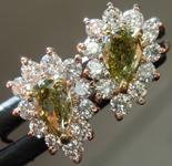 0.42ctw Green-Yellow SI2 Pear Shape Diamond Earrings R9401