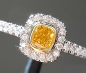 0.26ct Orangy Yellow VS2 Cushion Cut Diamond Ring R9766