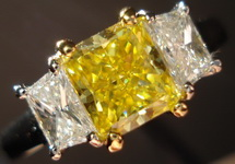 Three Diamond Ring: .96ct GIA Fancy Vivid Yellow Canary Radiant Diamond with Traps R1487