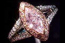 SOLD....Ring: GIA .55ct Fancy Light Purplish Pink Marquise Microset Ring R1491