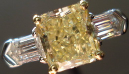 SOLD....Yellow Diamond Ring: 1.37ct Fancy Yellow SI2 Radiant Cut GIA Diamond Ring w/ tapered bullets R1516