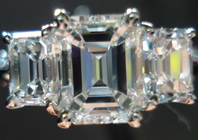 SOLD.....Ring- GIA 1.09 G/VVS1 Emerald Cut Diamond w/ Emerald cut side stones R1471