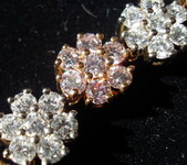 SOLD...Necklace- Magnificent 18.19ct White & Pink Diamond Flower 16.5 R1425