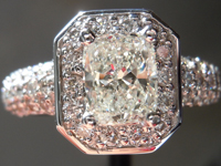SOLD....Ring- GIA 1.01carat K/SI2 Cushion Cut Diamond Microset Ring R1470