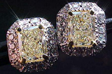 SOLD....Halo Diamond Earrings- 1.58 carat total weight Radiant cuts in a Micro Setting (see the movie for se) R1564