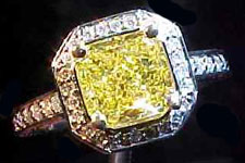SOLD....Ring: GIA 1.20ct VS1 Square Radiant Vivid Yellow Diamond Halo Ring R1708
