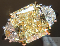 "SOLD....Yellow Diamond Ring: 3.18ct Y-Z VS2 Radiant Cut GIA ""Uber"" Three Stone Ring with Half Moons R1388"
