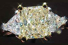 SOLD....Ring Special: 1.01 S-T Light Yellow Radiant Cut Diamond w/ trilliants R1852