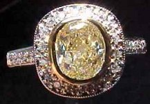 SOLD.....Diamond Ring Special: .95ct VS1 Radiant Cut S-T Light Yellow Diamond HALO ring R1833