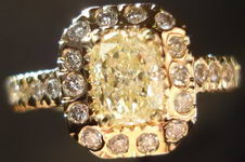 SOLD.... Halo Diamond Ring .91 Faint Yellow Cushion Cut Diamond Yelllow Gold RIng R1834