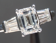 Ring Special: GIA .95ct E/I1 Emerald Cut Diamond Ring w/ Double Baguettes R1861
