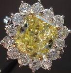 SOLD.....Halo Diamond Ring: GIA 3.02ct SI2 Fancy Intense Yellow Cushion Cut Diamond Daisy Ring R2874